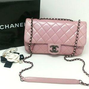 Rare Auth CHANEL Metallic Pink/Lavender Flap Bag